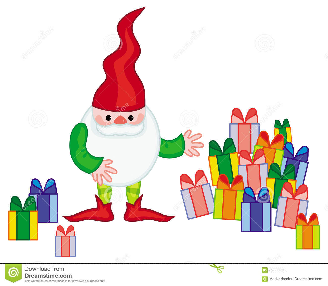 Funny Gnome With Boxes Of Presents. Stock Illustration ...