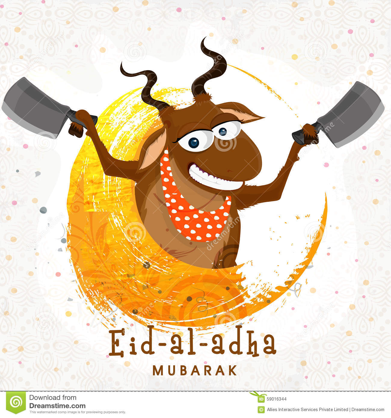 Funny Goat With Chopper For Eid-Al-Adha  Stock Illustration