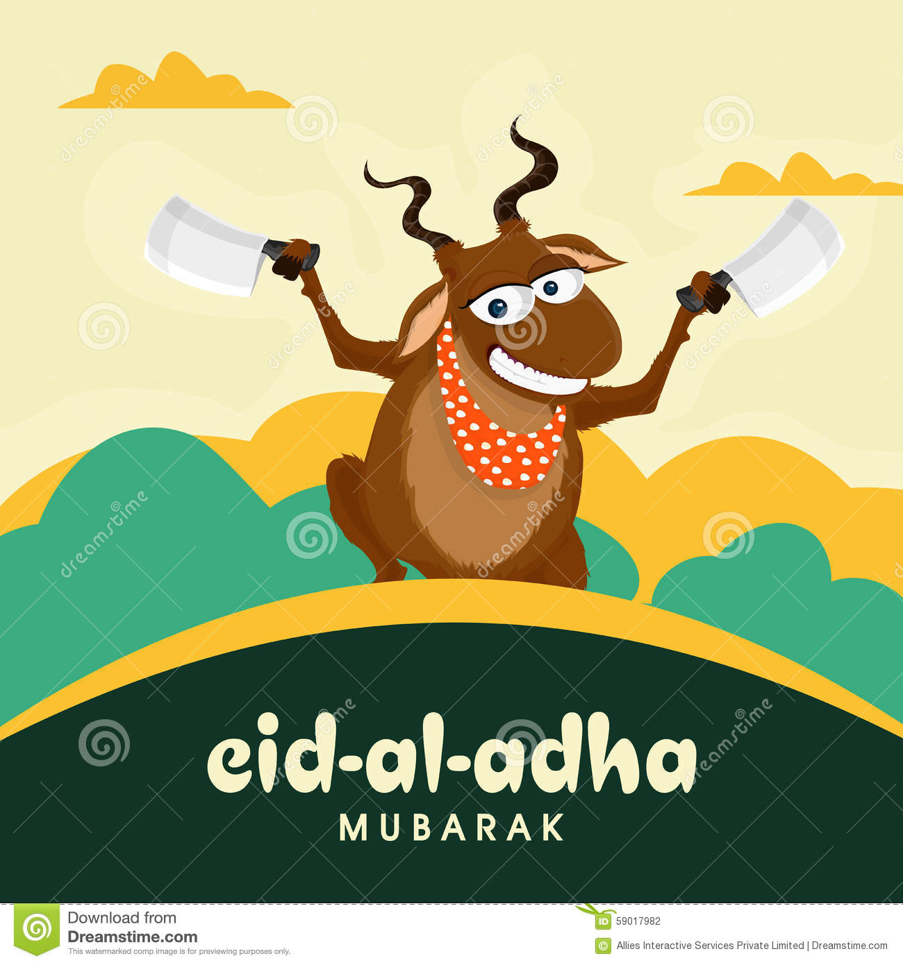 Funny Goat With Choppers For Eid Al Adha