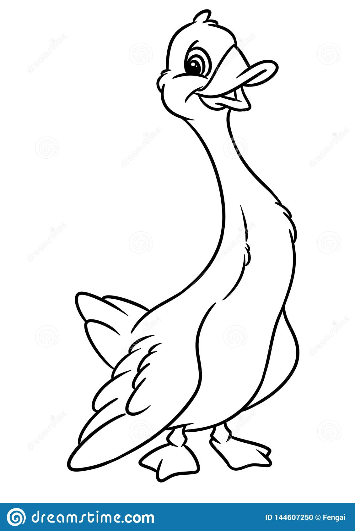 Funny Goose Animal Character Cartoon Illustration Coloring Page Stock Illustration Illustration Of Character Contour 144607250