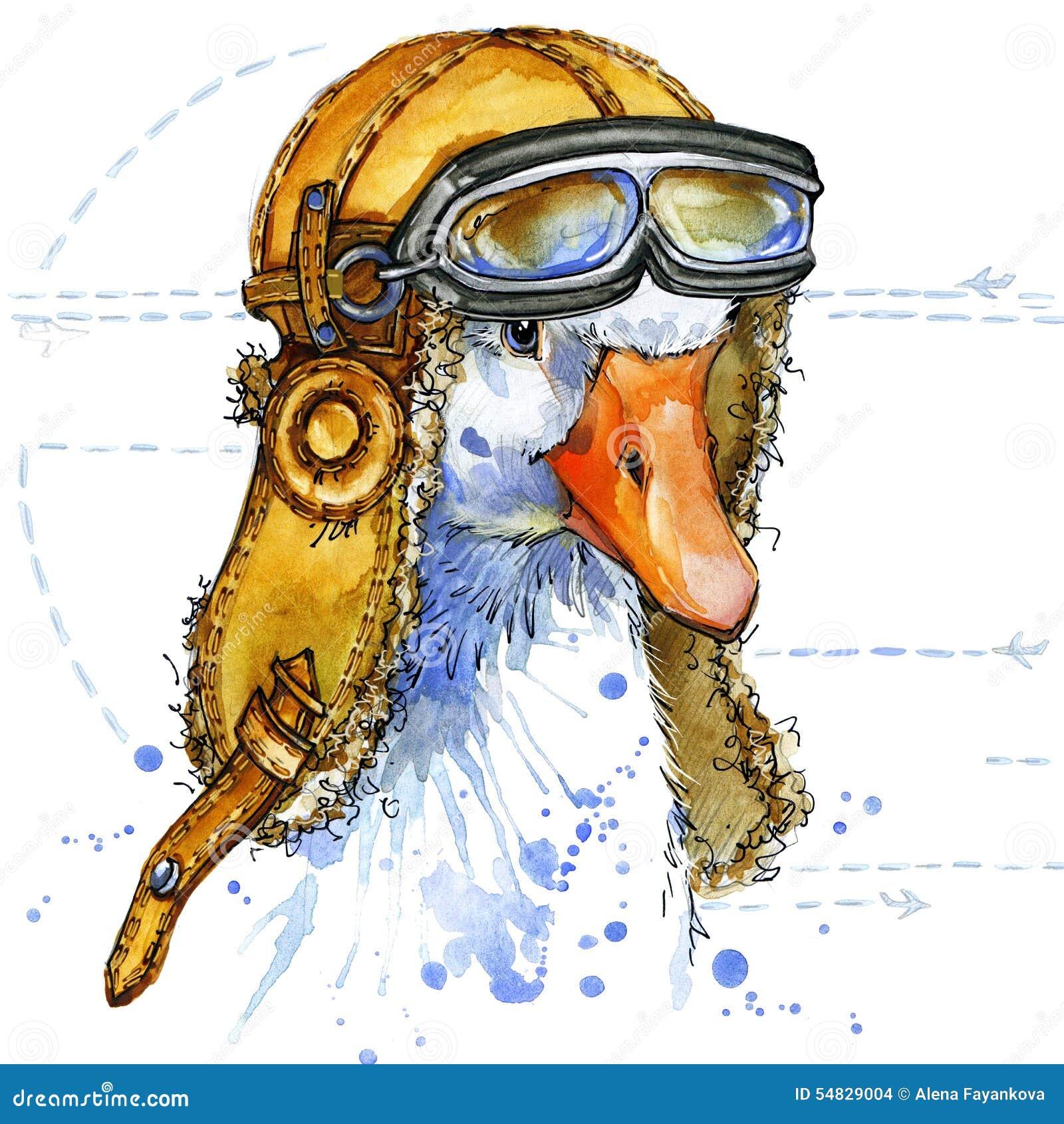 Funny goose aviator hat watercolor. fashion print