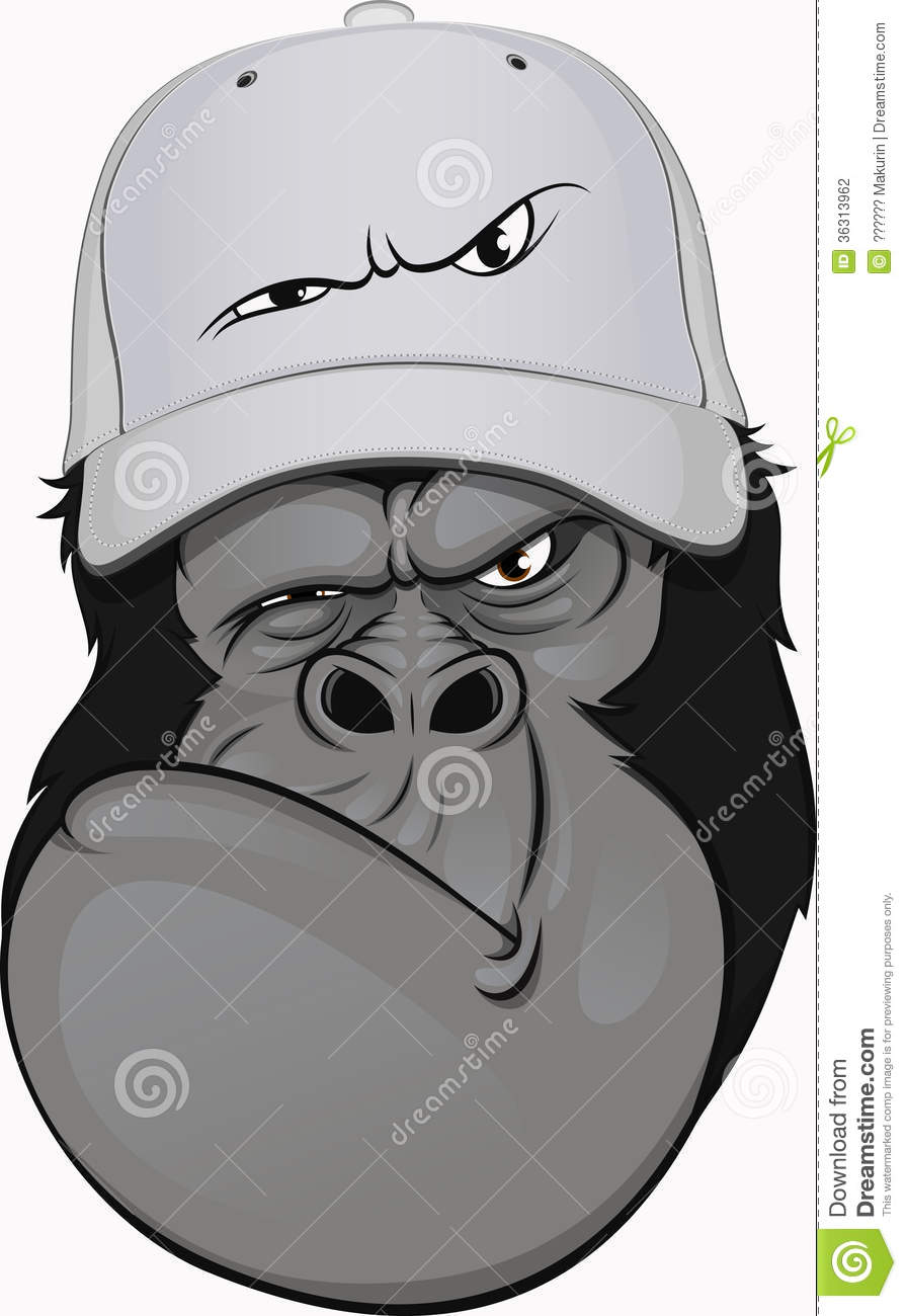 Funny Gorilla In A Baseball Cap Stock Photography Image 36313962