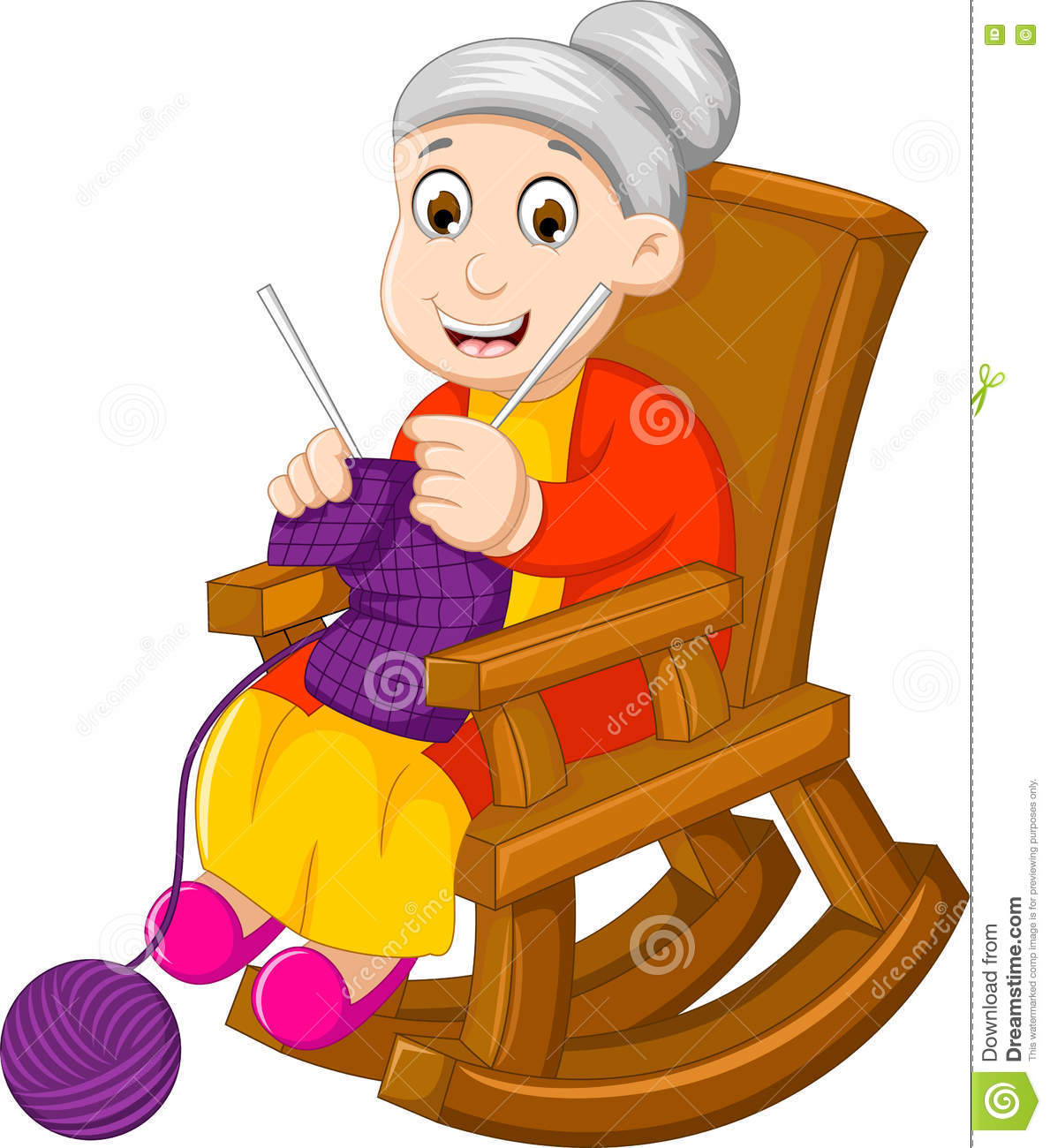 Knitting Granny Clipart : Funny grandmother cartoon knitting in a rocking chair