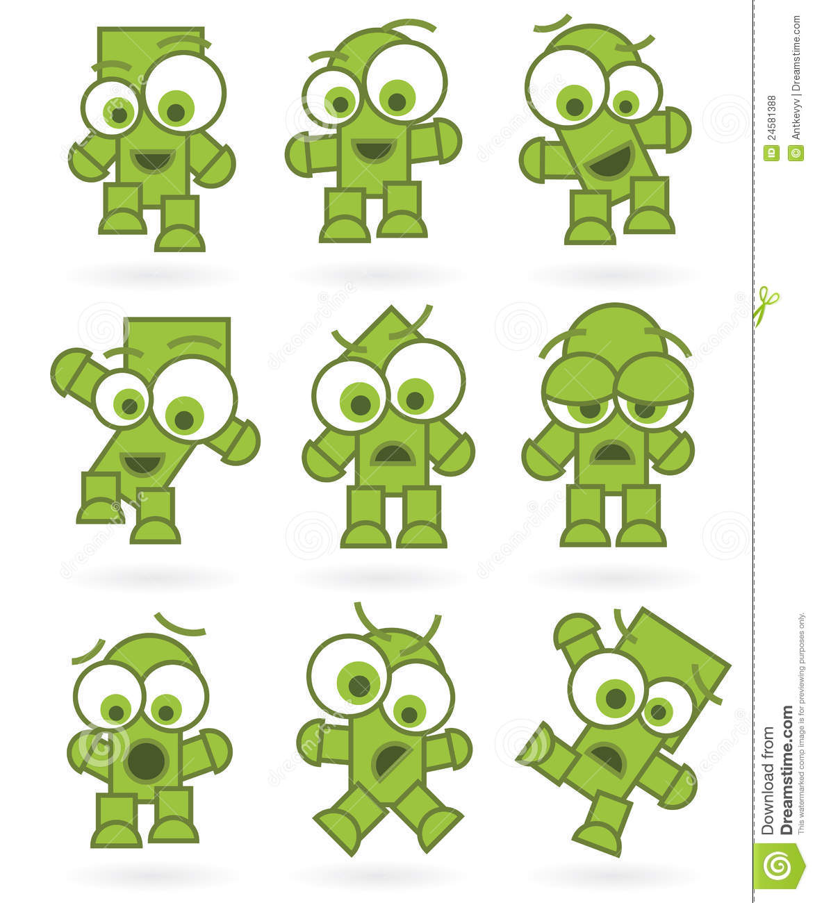 A Cartoon Character That Is Green : Funny green cartoons robot monster character set royalty