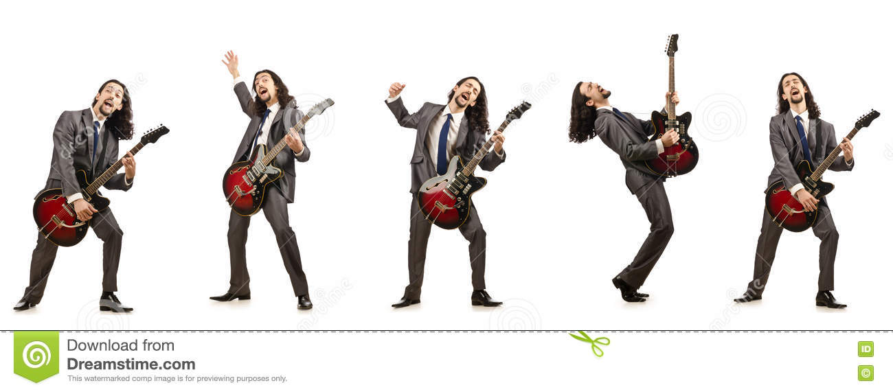The funny guitar player isolated on white