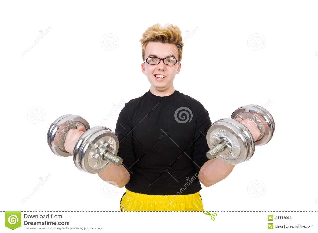 Funny guy with dumbbels