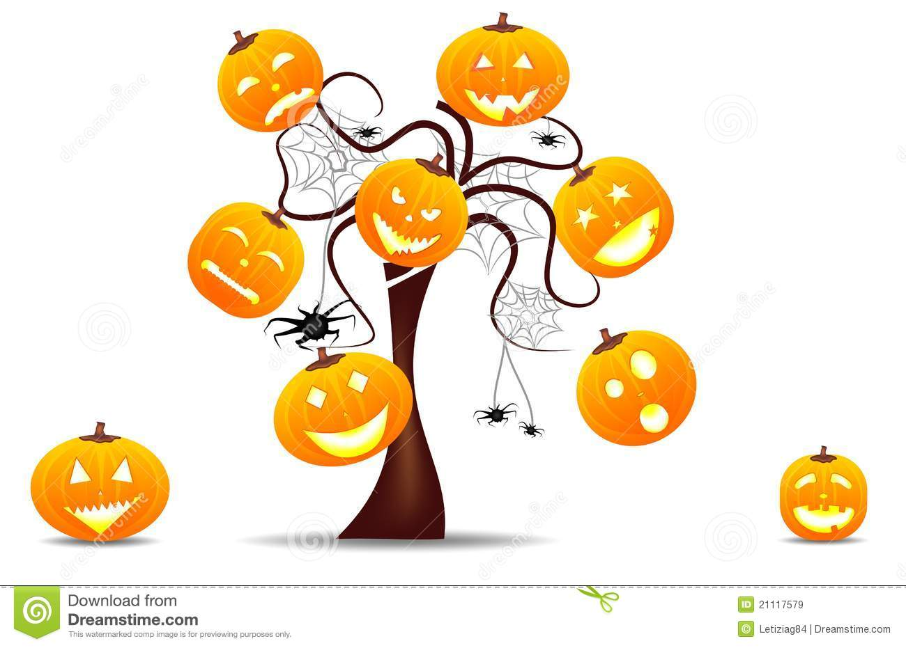 funny halloween background with pumpkins stock illustration