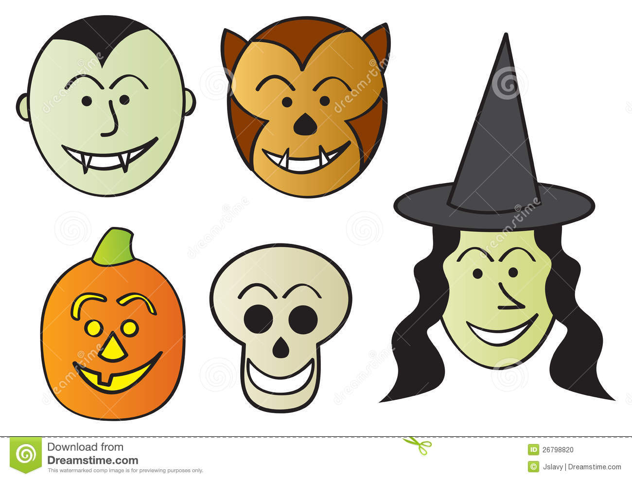 Funny Halloween Characters stock vector. Image of monster - 26798820