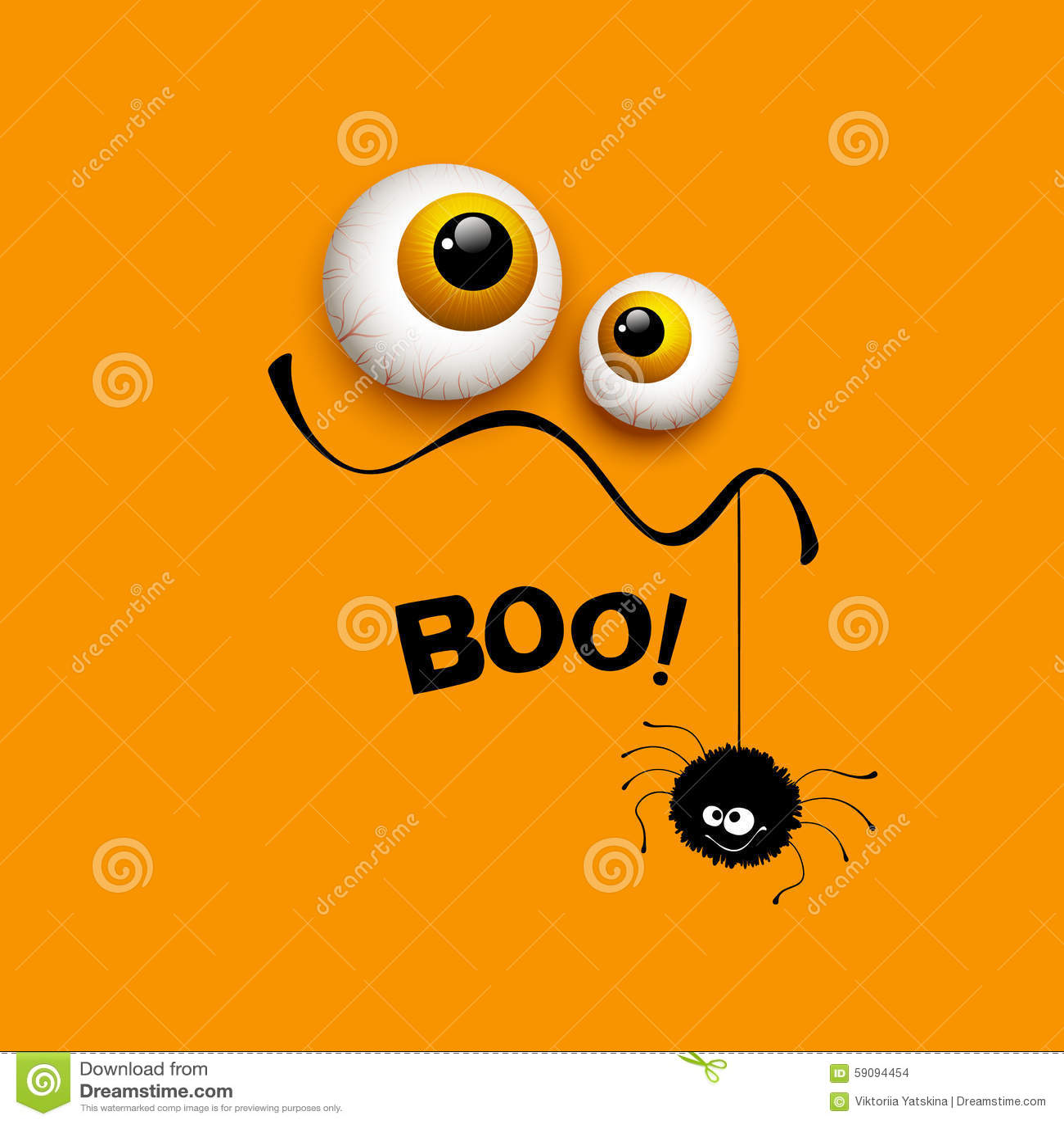 Funny Halloween Greeting Card Monster Eyes. Vector Stock Vector ...