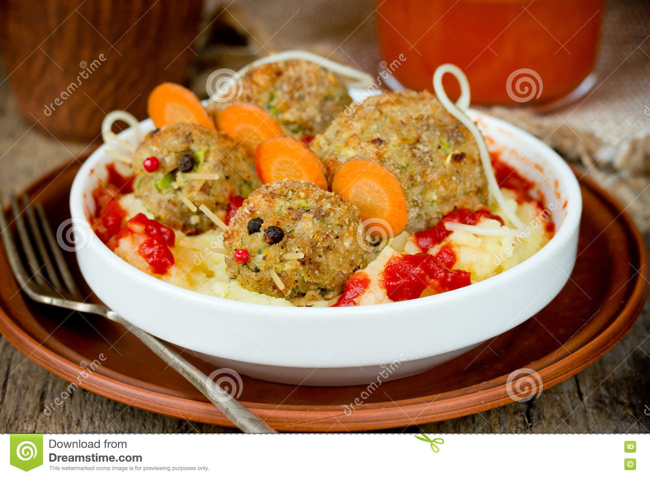 Funny Halloween Party Food - Meatloaf Rats Stock Photo - Image ...