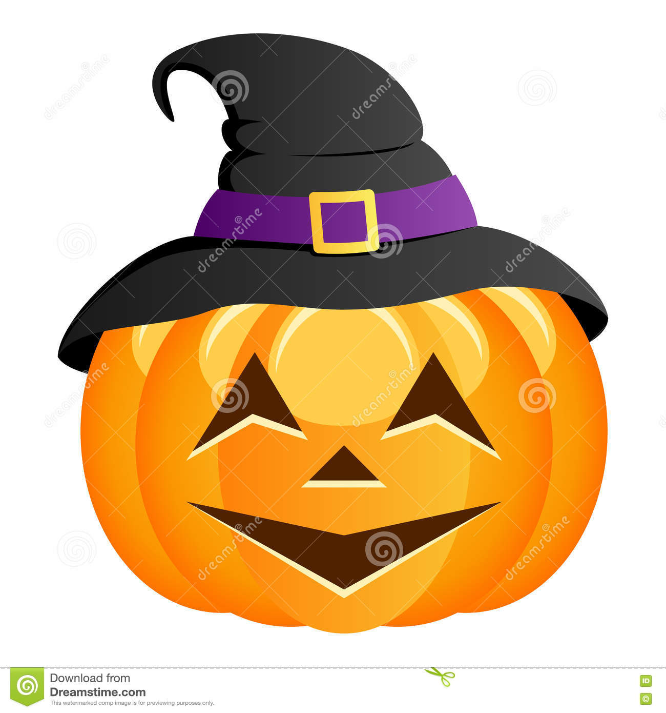 funny halloween pumpkin with witch hat stock vector - illustration