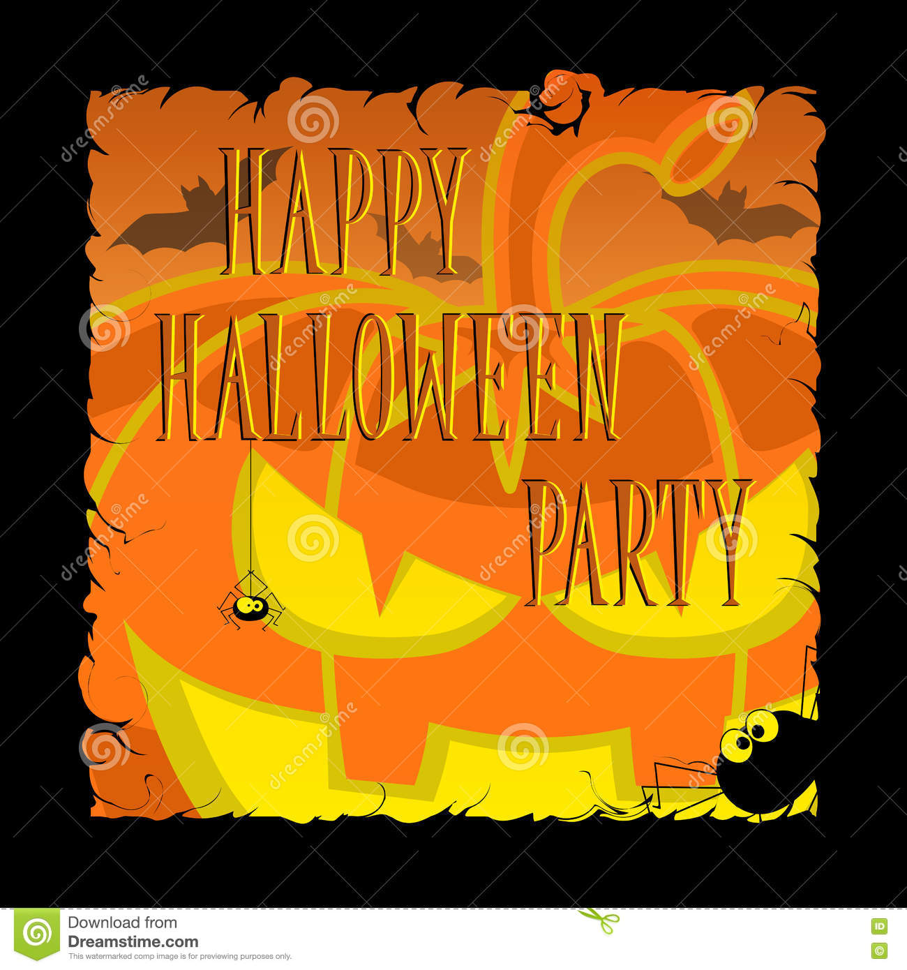 funny halloween pumpkins bats scary spiders and text retro