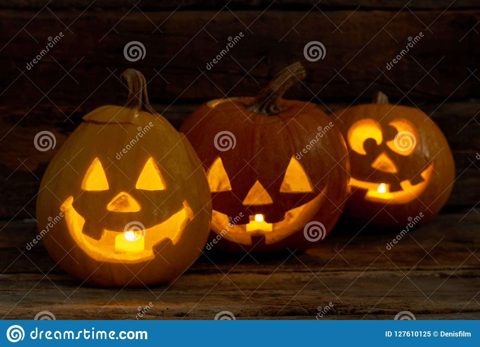 Funny Halloween Pumpkins With Burning Candles Stock Image Image Of Holiday Funny 127610125