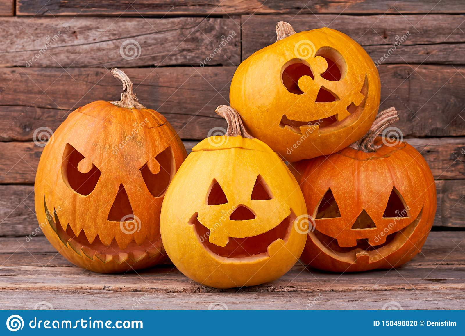 Funny Halloween Pumpkins On Wooden Background Stock Photo Image Of Background Holiday 158498820