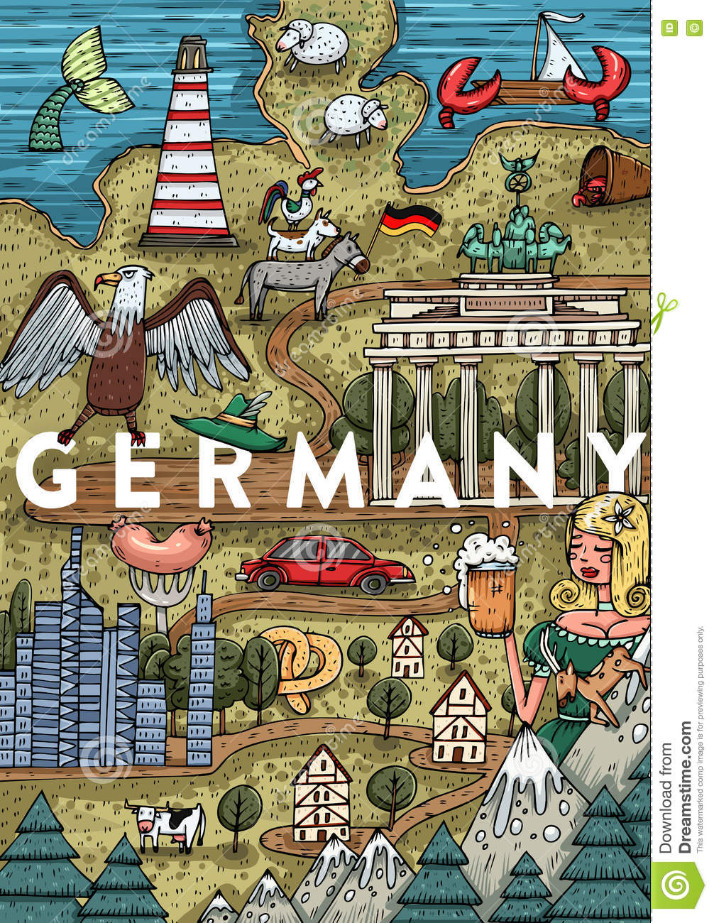 Funny Hand Drawn Cartoon Germany Map With Most Popular Places Of - Germany map cartoon