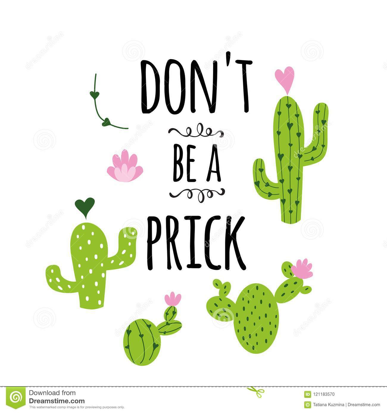 Funny Hand Drawn Prickly Cactus Print With Funny Quote Home