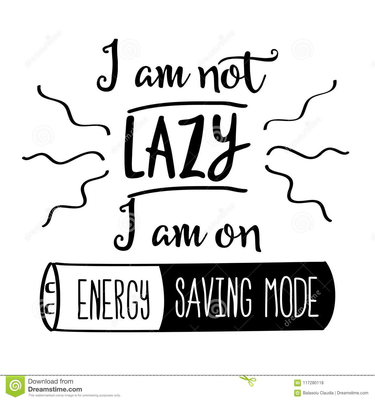 Funny Hand Drawn Quote About Lazy People Stock Illustration