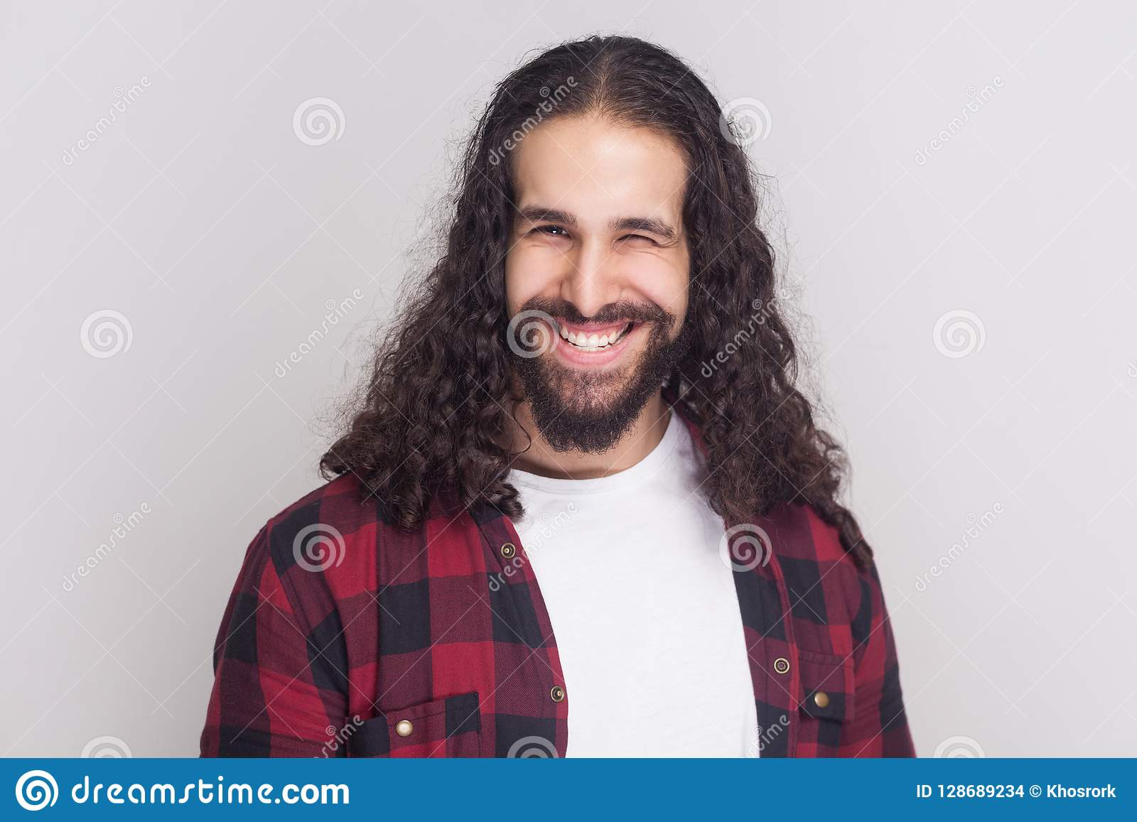Wondrous Funny Handsome Man With Beard And Black Long Curly Hair In Casual Schematic Wiring Diagrams Amerangerunnerswayorg