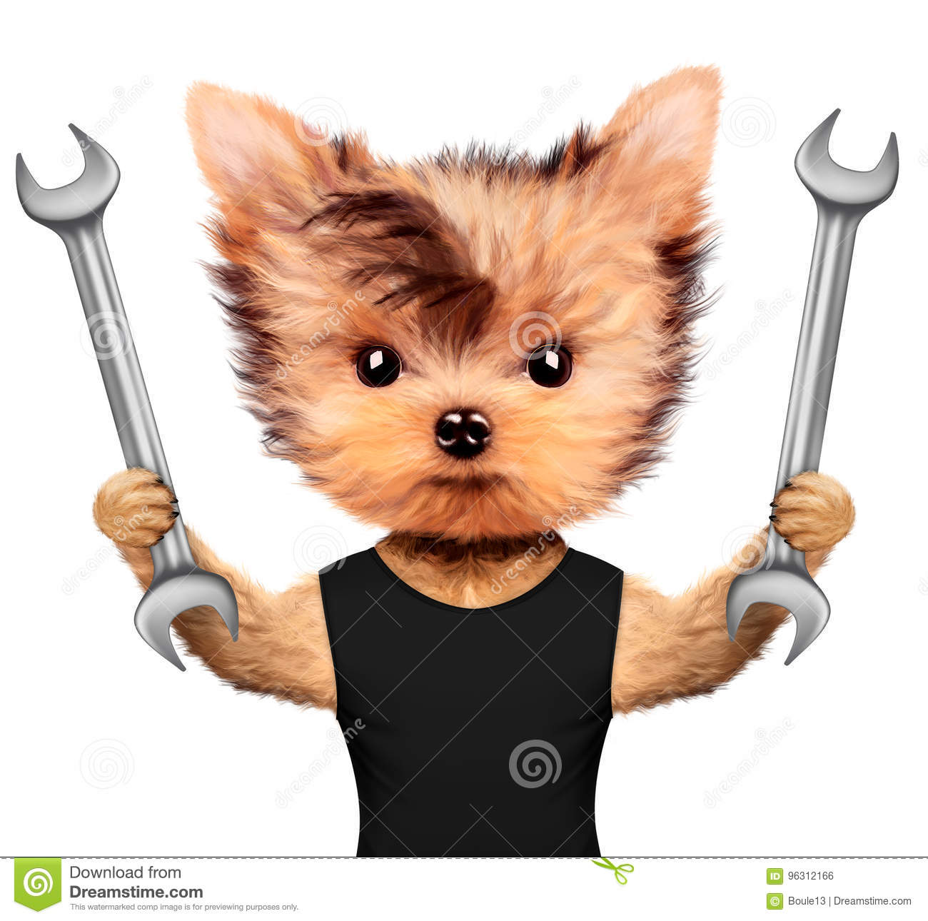 Funny Handyman Dog With Two Wrenches Stock Illustration