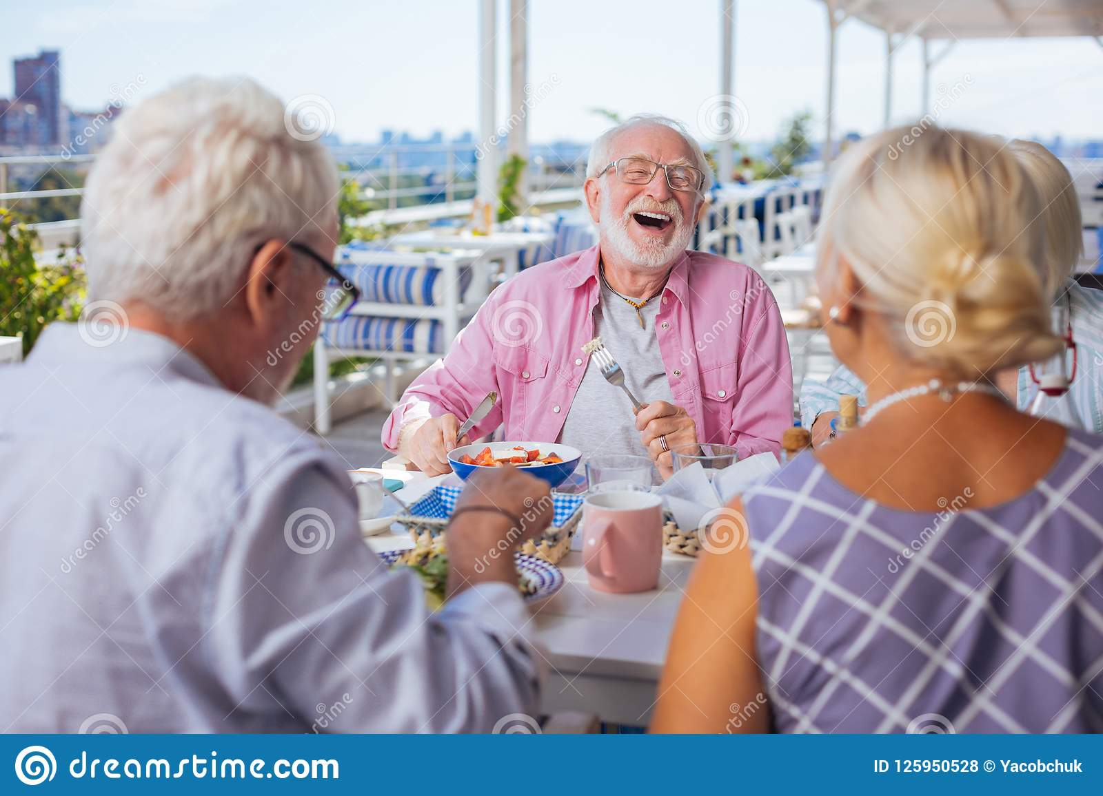 Remarkable Happy Aged Bearded Man Being In A Great Mood Stock Photo Image Natural Hairstyles Runnerswayorg