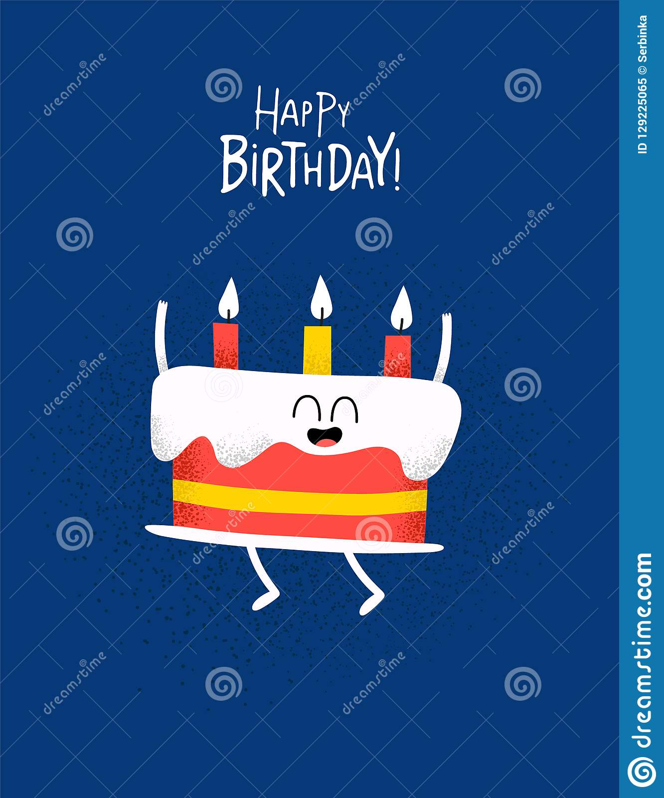 Stupendous Funny Happy Birthday Card Cake With Candels Stock Illustration Funny Birthday Cards Online Alyptdamsfinfo