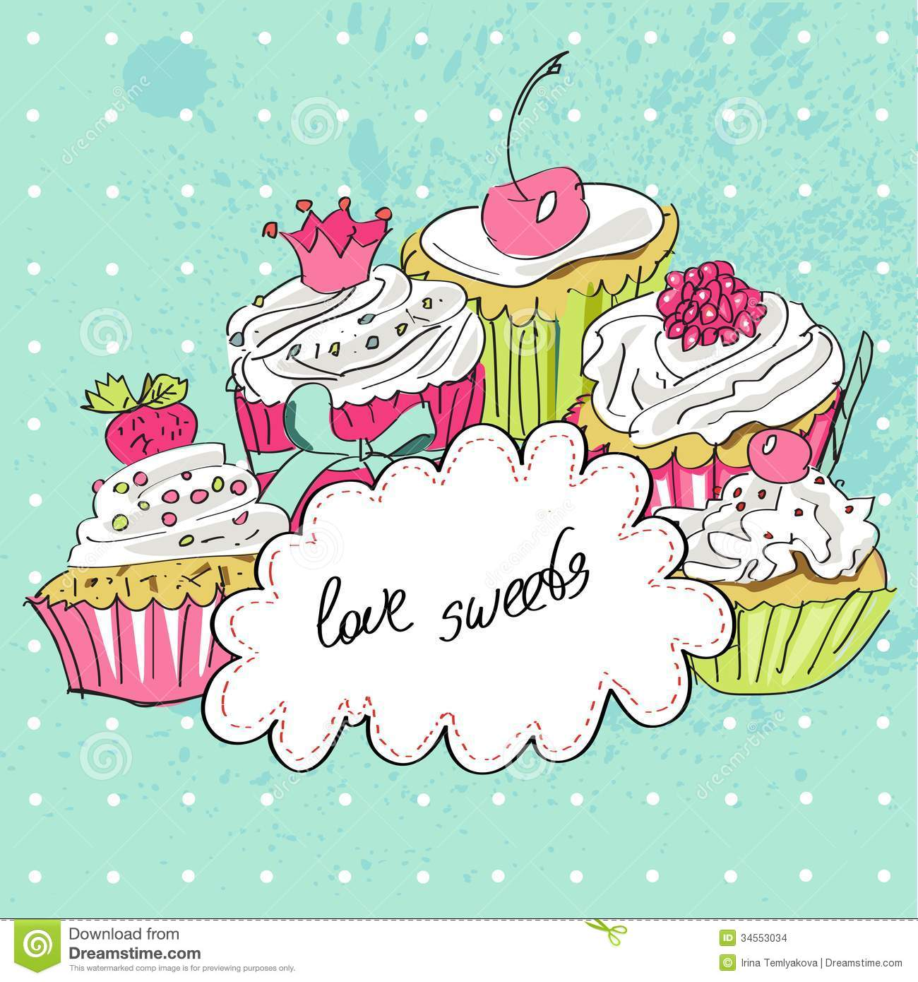 Funny happy birthday card with tasty cupcakes in vector cartoon