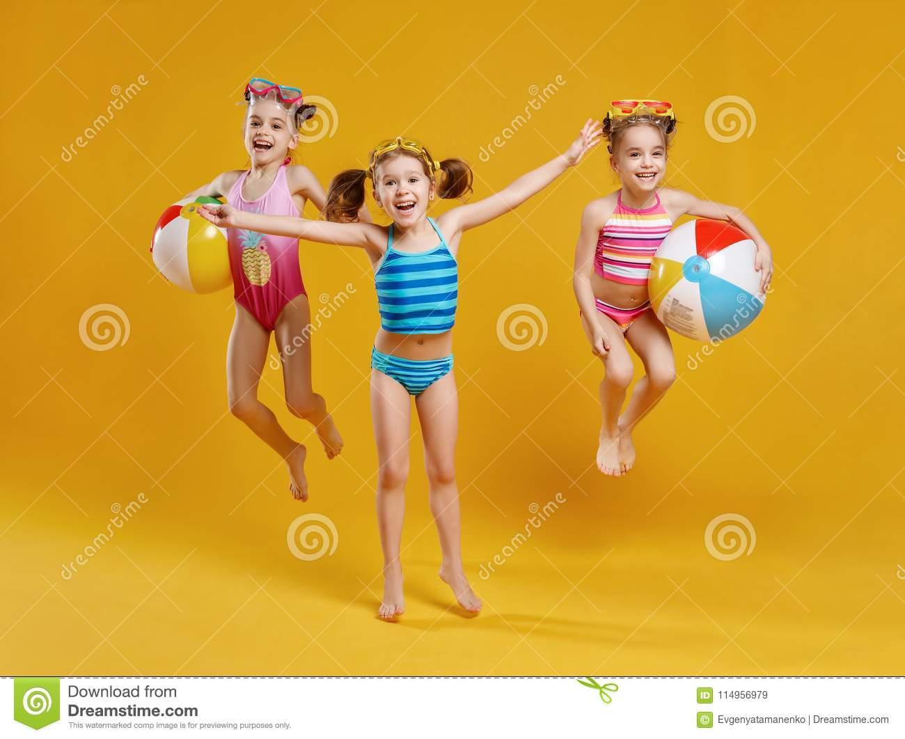 8e9e53abda Funny Funny Happy Children Jumping In Swimsuit Jumping On Col Stock ...