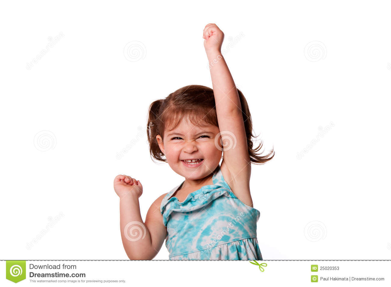 Cute beautiful funny happy little toddler girl celebrating with hand
