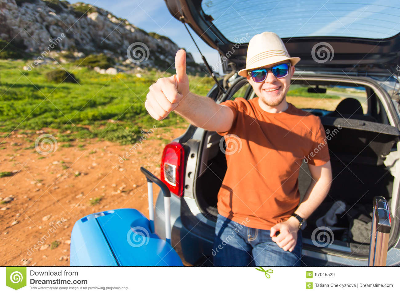 Download Funny Happy Man Going On Summer Vacation Car Travel Concept Stock Image