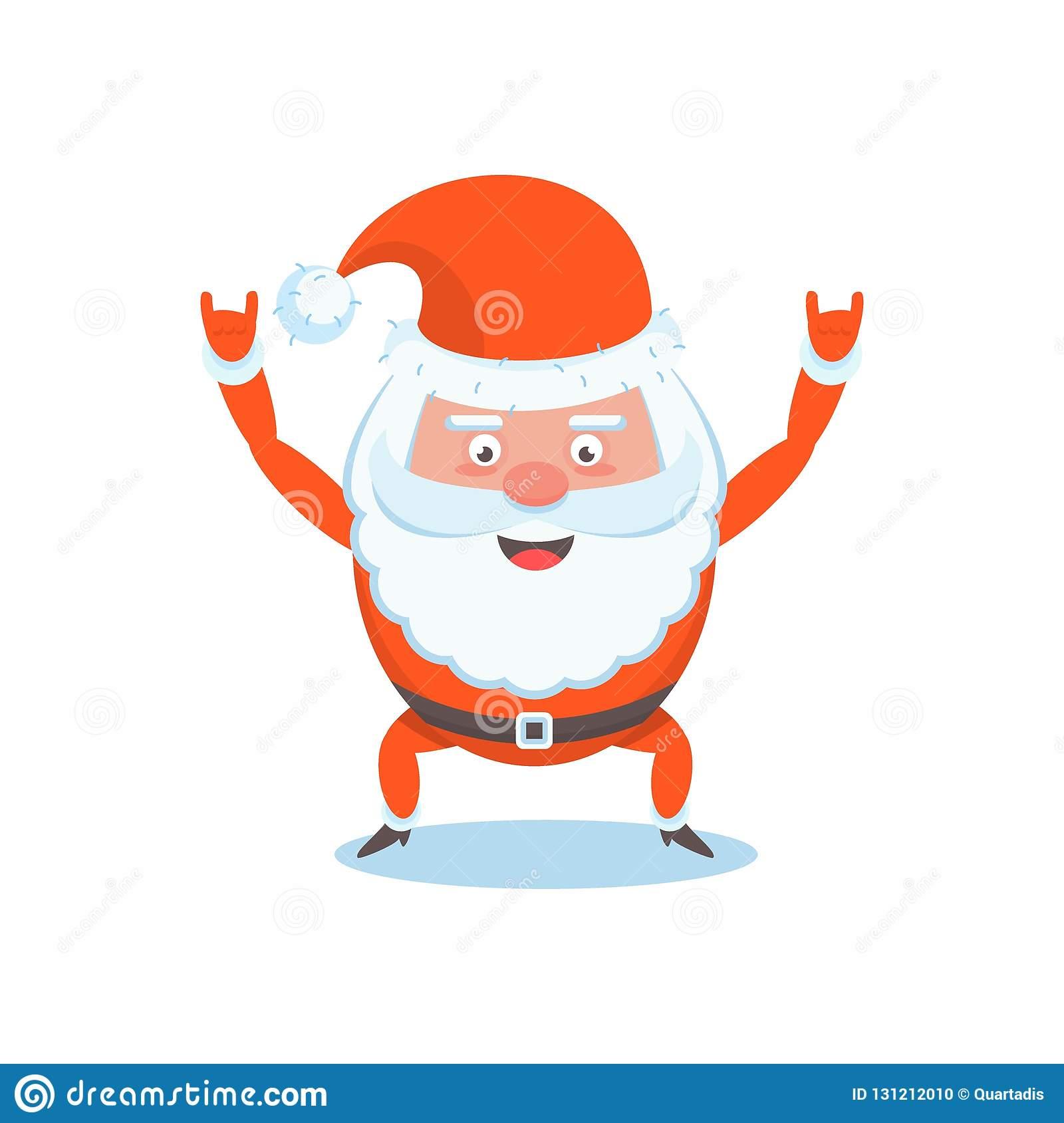 Cool Christmas Cards.Funny Happy Santa Claus Character Christmas Cards Stock
