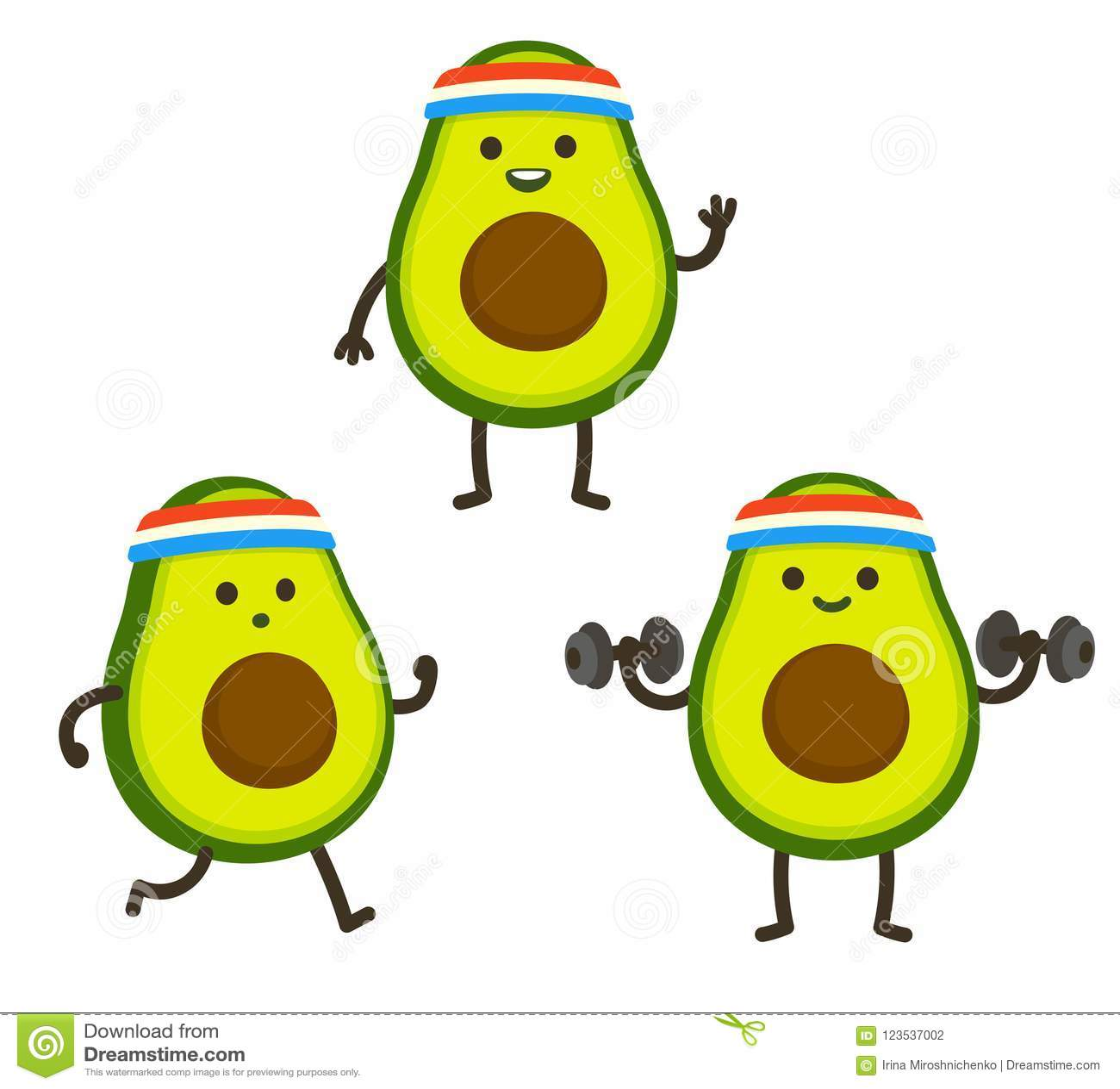 Funny Cartoon Avocado Character Stock Vector