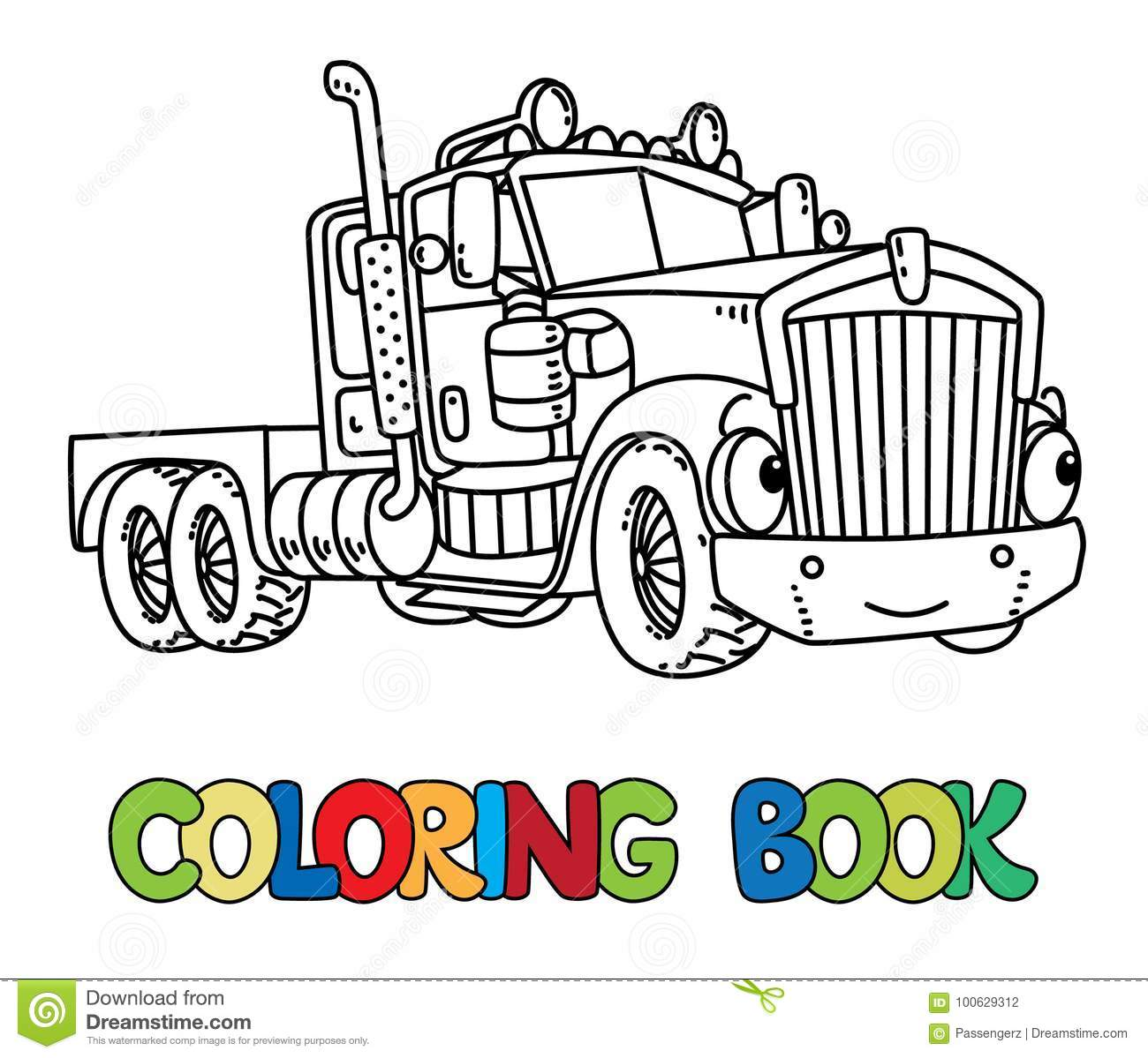 Funny Heavy Truck With Eyes. Coloring Book Stock Vector ...