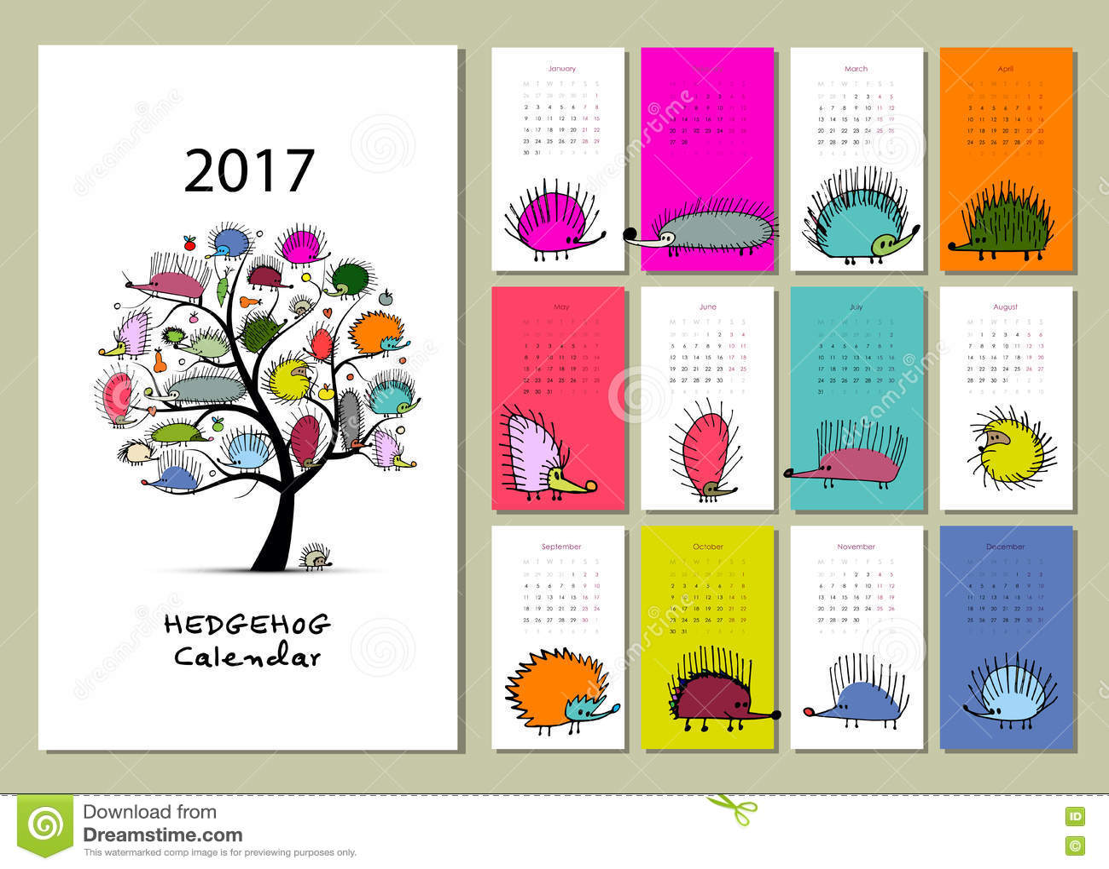 Illustration Calendar Design : Funny hedgehogs calendar design stock vector