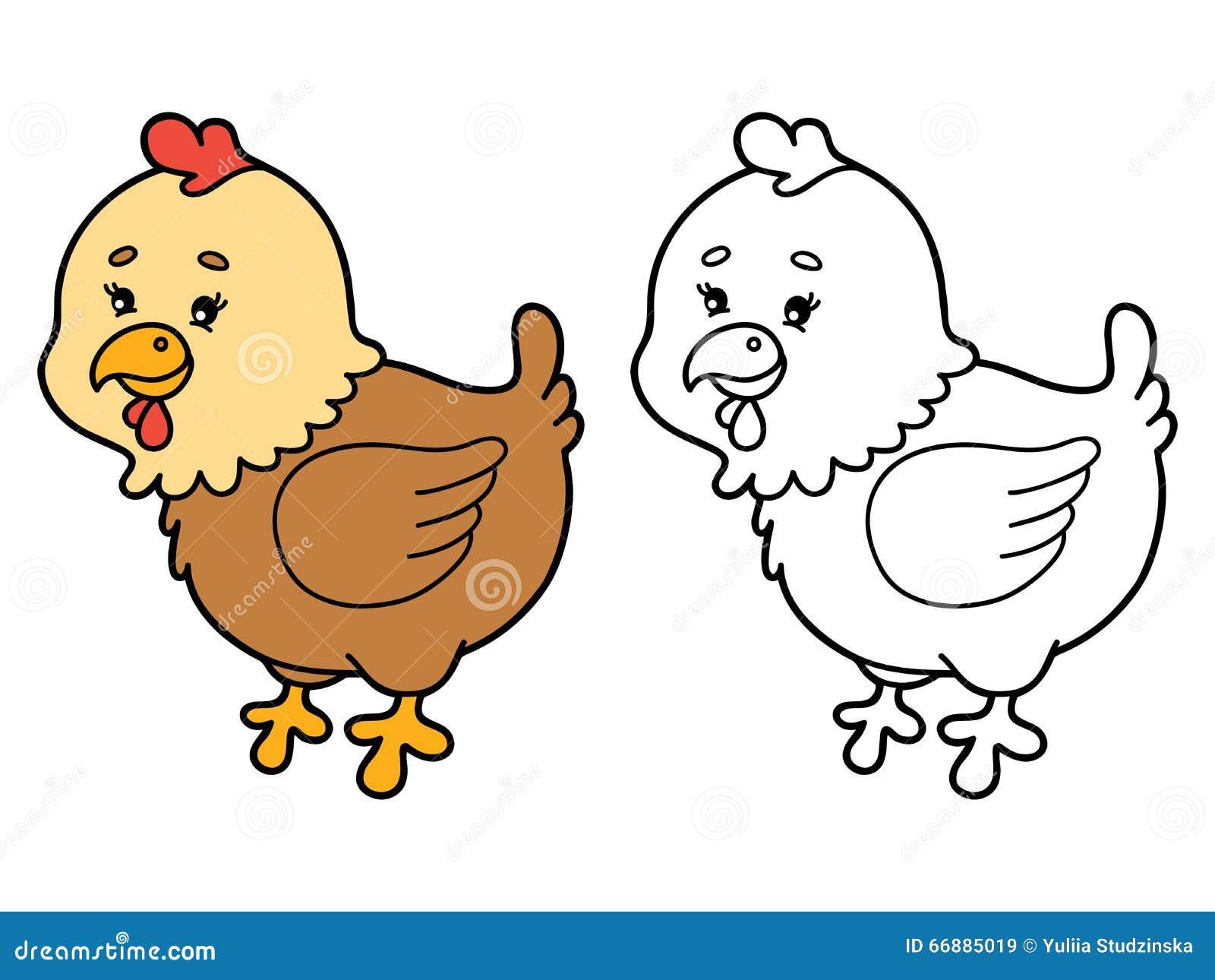 Cartoon Hen Coloring Page Vector Illustration