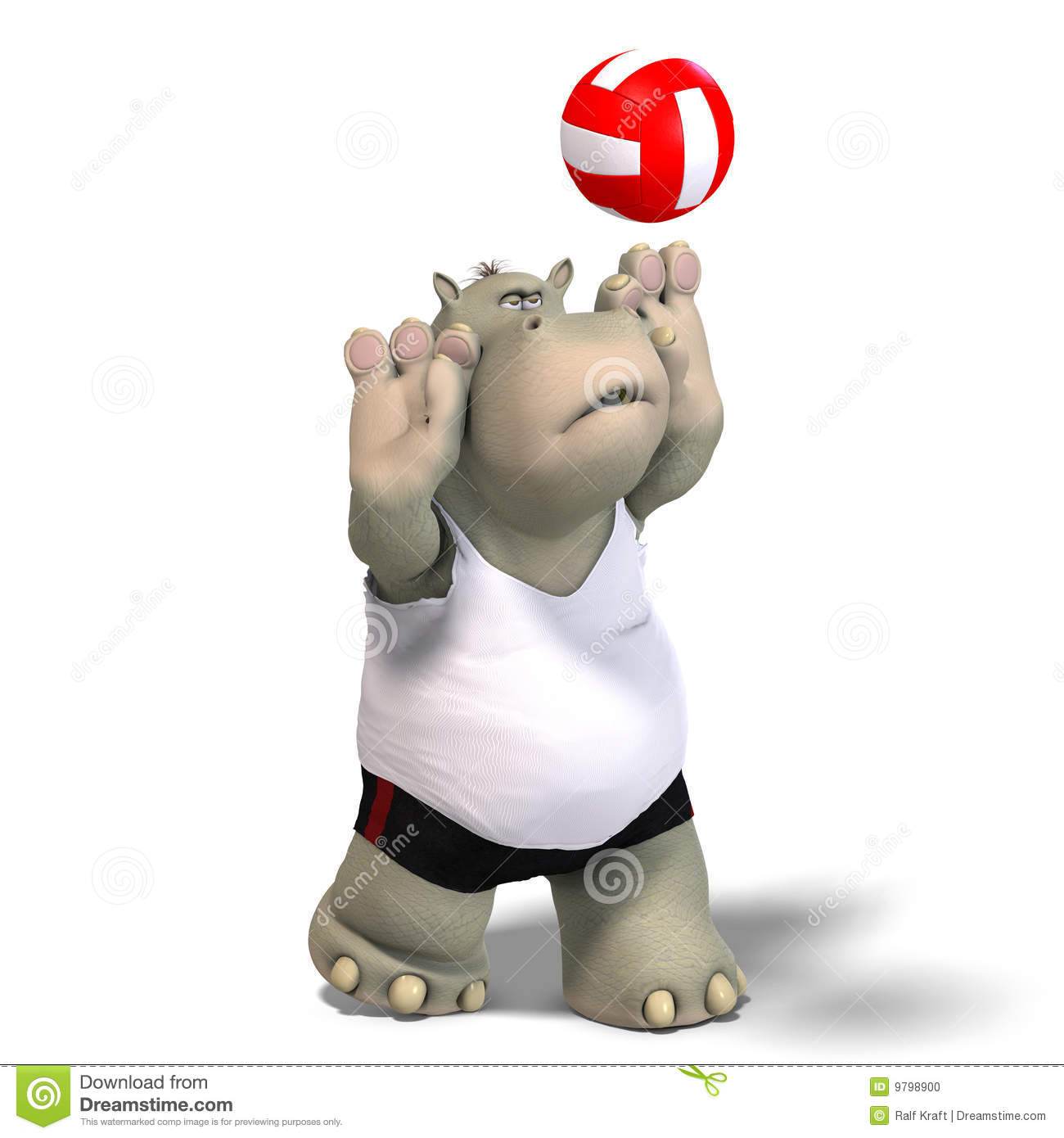funny hippo plays volleyball stock illustration illustration of