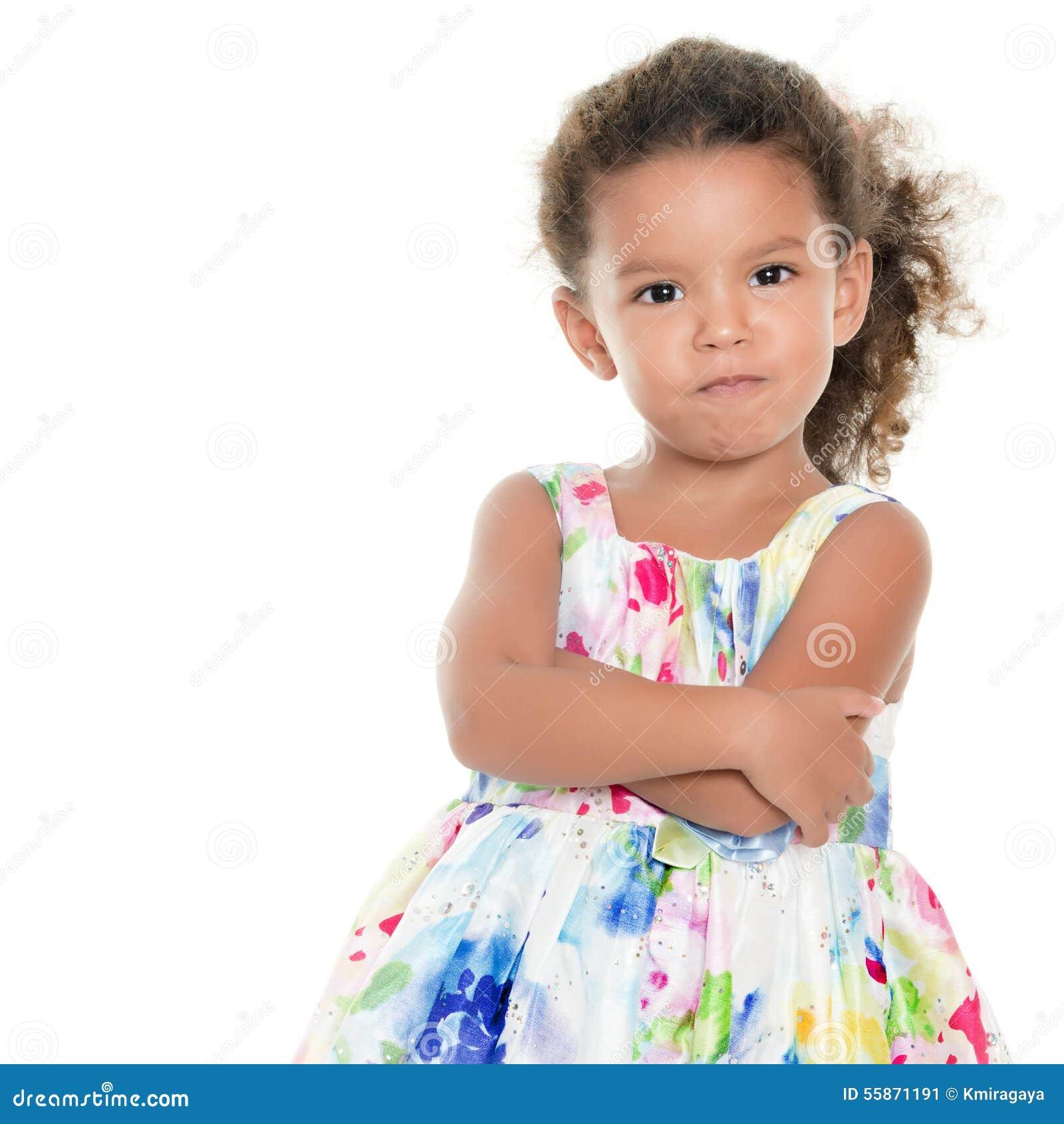 Funny hispanic girl making an angry face