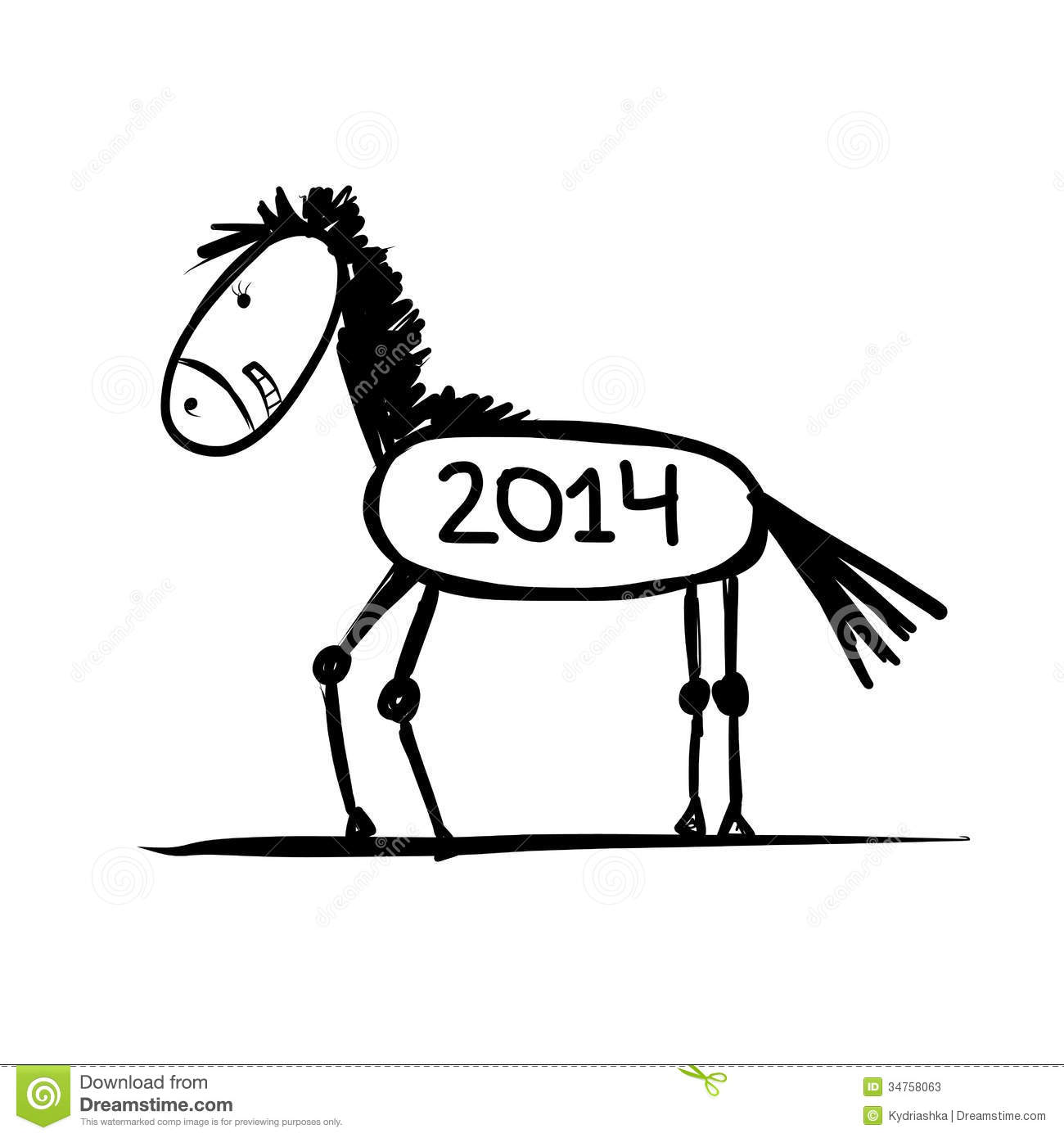 Funny Horse Sketch For Your Design Symbol Of 2014 Stock Illustration Illustration Of Action Domestic 34758063