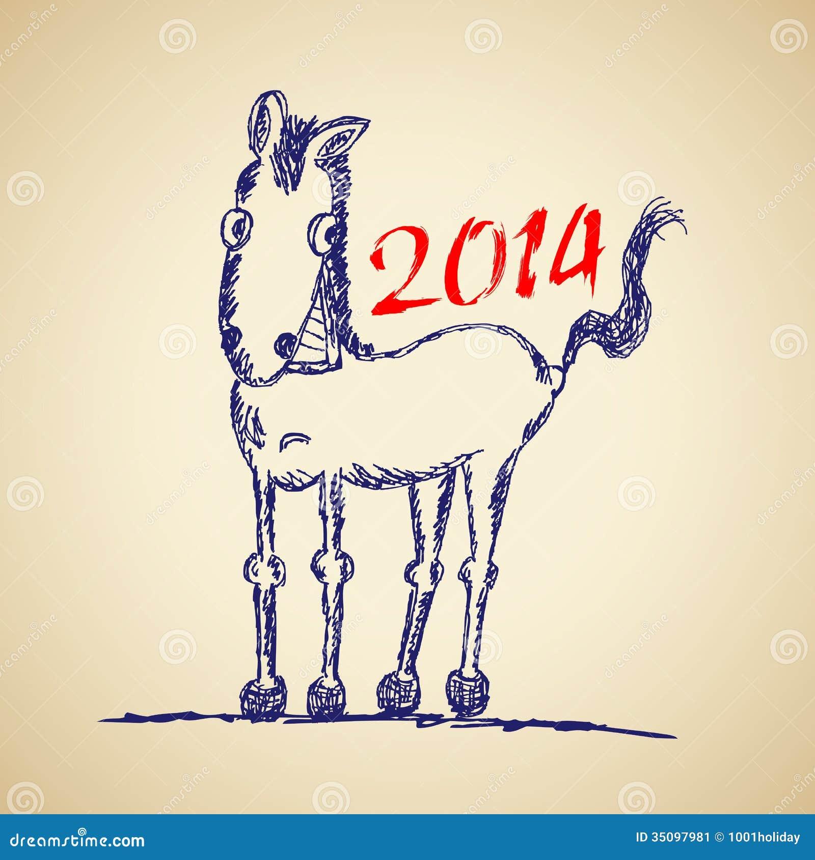 Funny Horse Sketch Stock Vector Illustration Of Equestrian 35097981