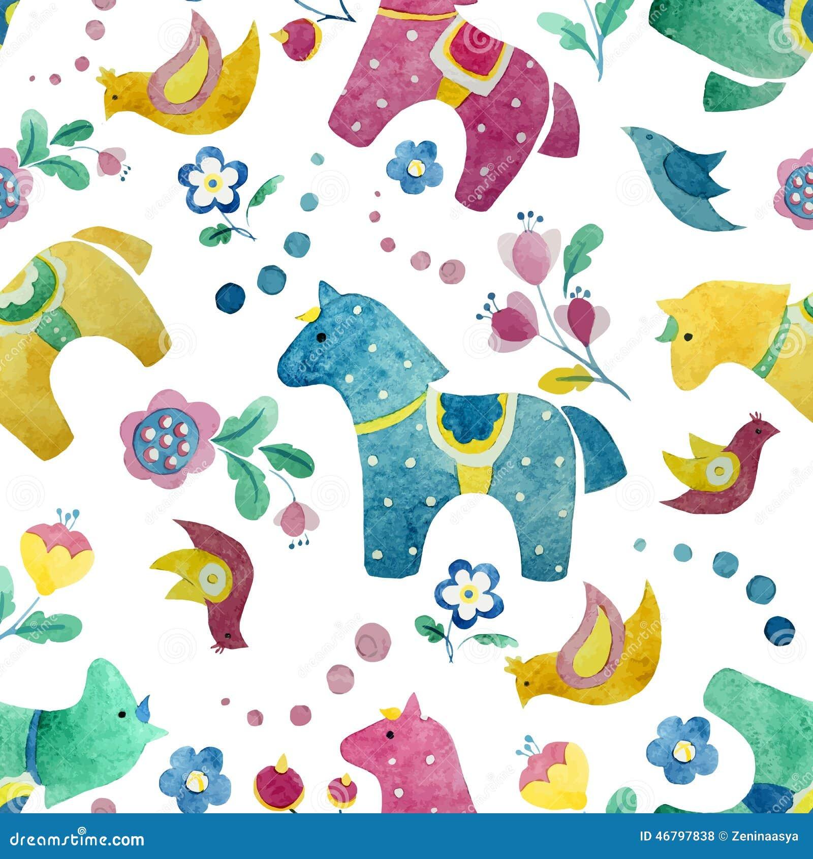 Funny Horse Wallpaper Pattern Flower Bird Stock Vector Illustration Of Abstract Horse 46797838