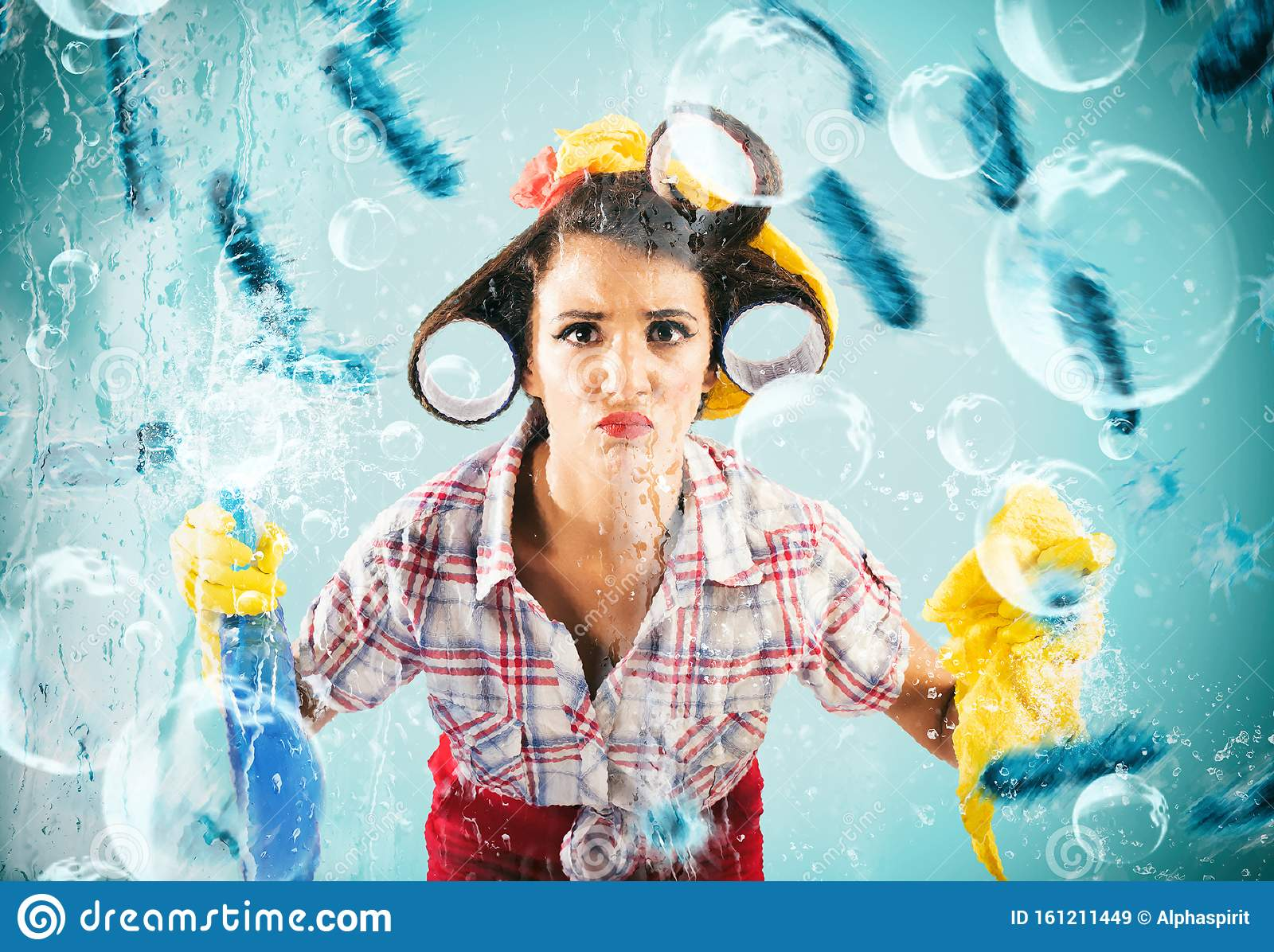 Funny housewife cleans and disinfects to keep germs away