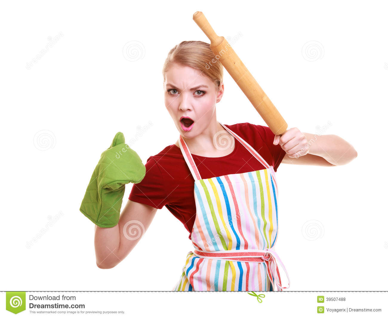 Funny housewife kitchen apron oven mitten holds rolling pin isolated