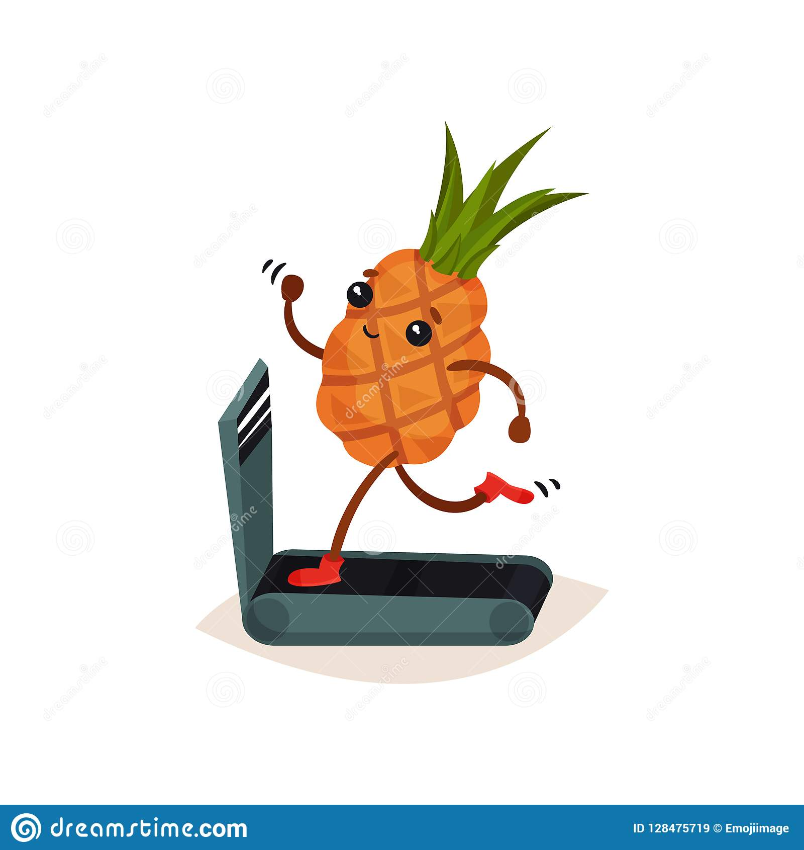 Funny humanized pineapple running on treadmill. Cartoon tropical fruit. Sport and physical activity theme. Flat vector