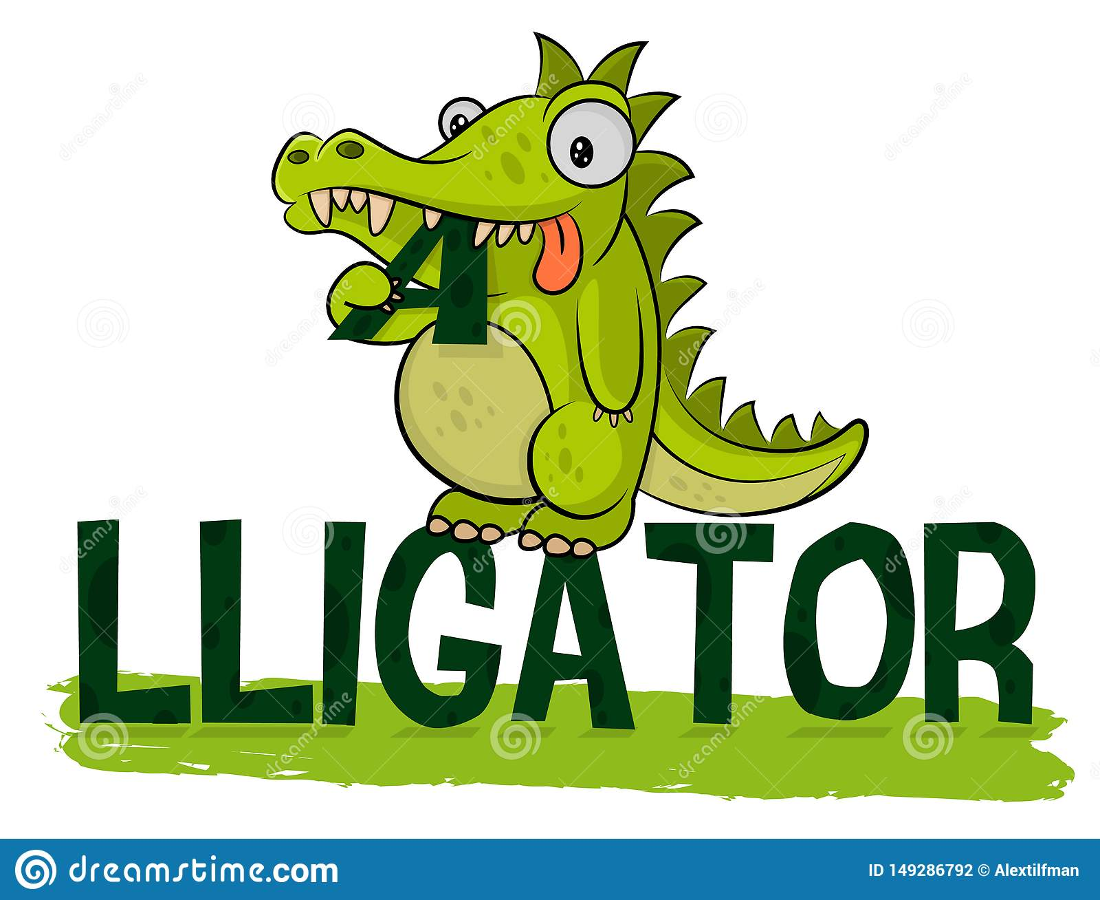Cute hungry alligator eats logo. Crocodile Logotype Vector. Alligator illustration. Fat little croc. Friendly animal from the zoo.