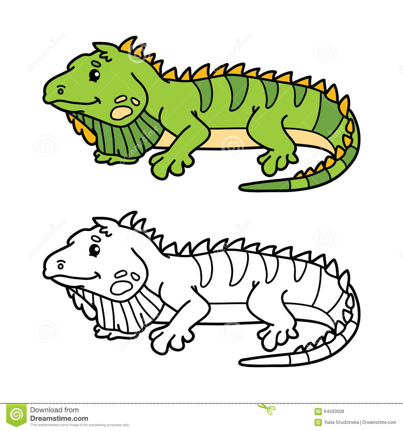 Funny iguana. stock vector. Illustration of animal, cheerful - 64593608