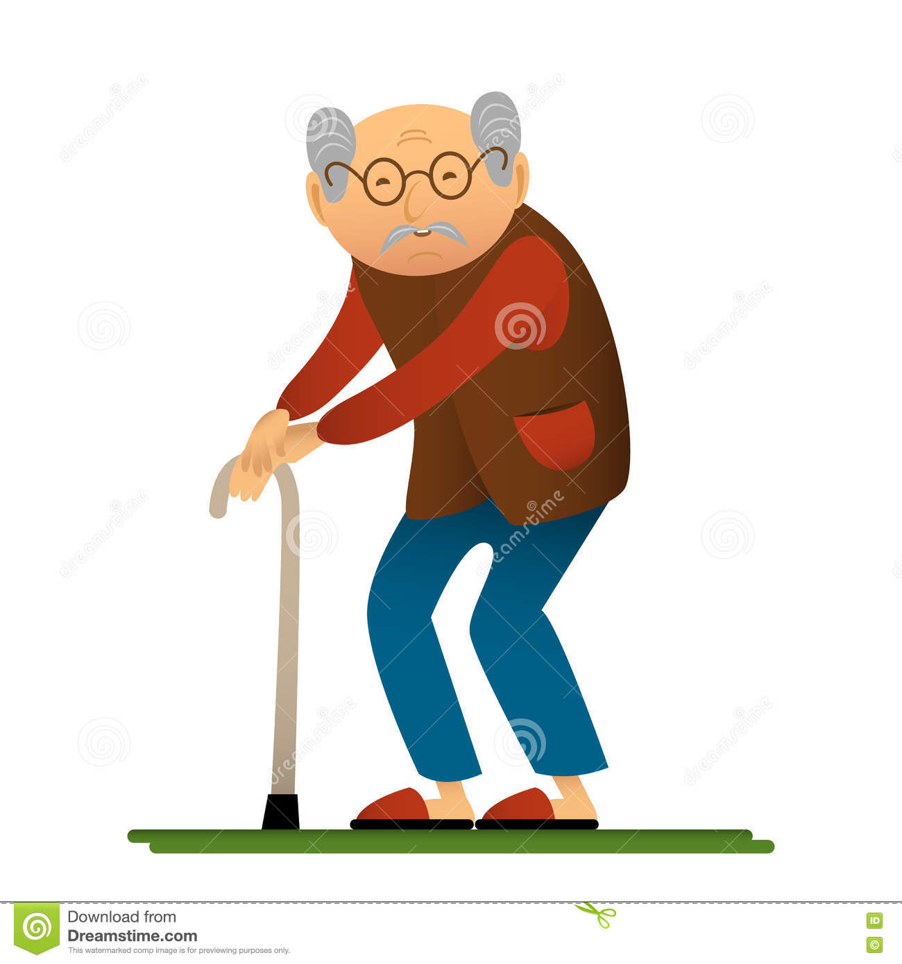 Cartoon Characters Old Man : Funny illustration of old man with cane cartoon character