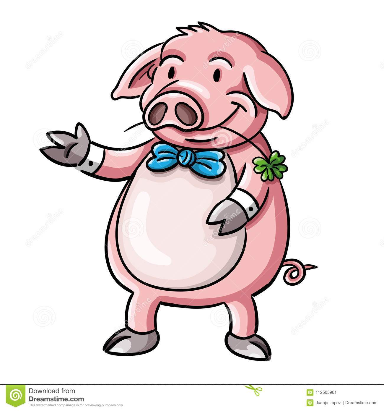 Funny Illustration Of Pig As A Symbol Of Good Luck Stock