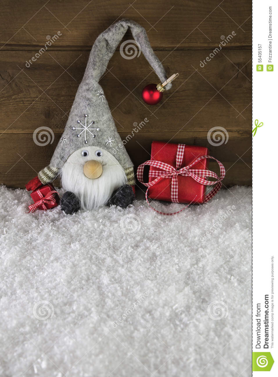 Funny Imp On Wooden Background With Red Christmas Presents. Stock ...