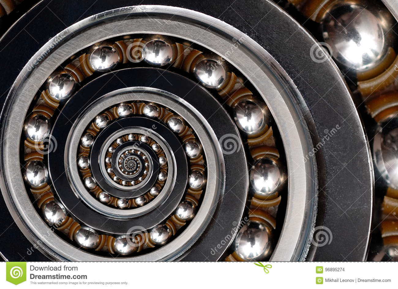 Funny incredible unrealistic industrial Ball Bearing spiral abstract pattern background. Spiral machinery abstract fractal pattern