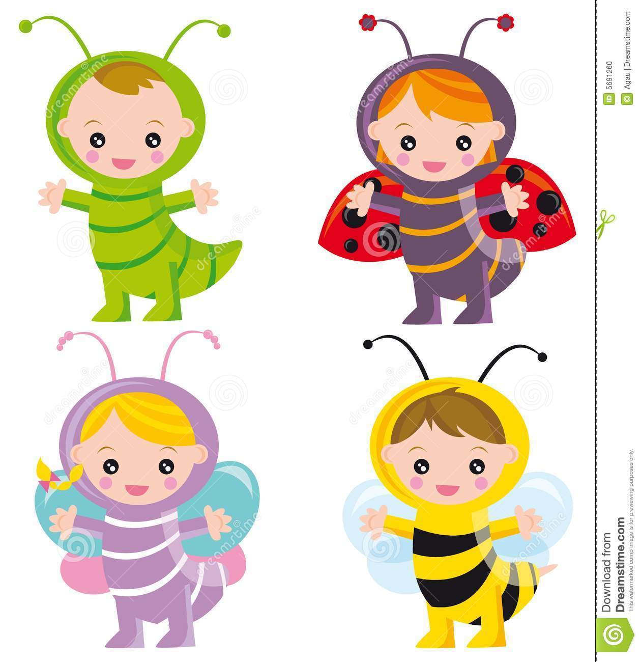 Funny insects stock vector. Image of bugs, butterfly ...