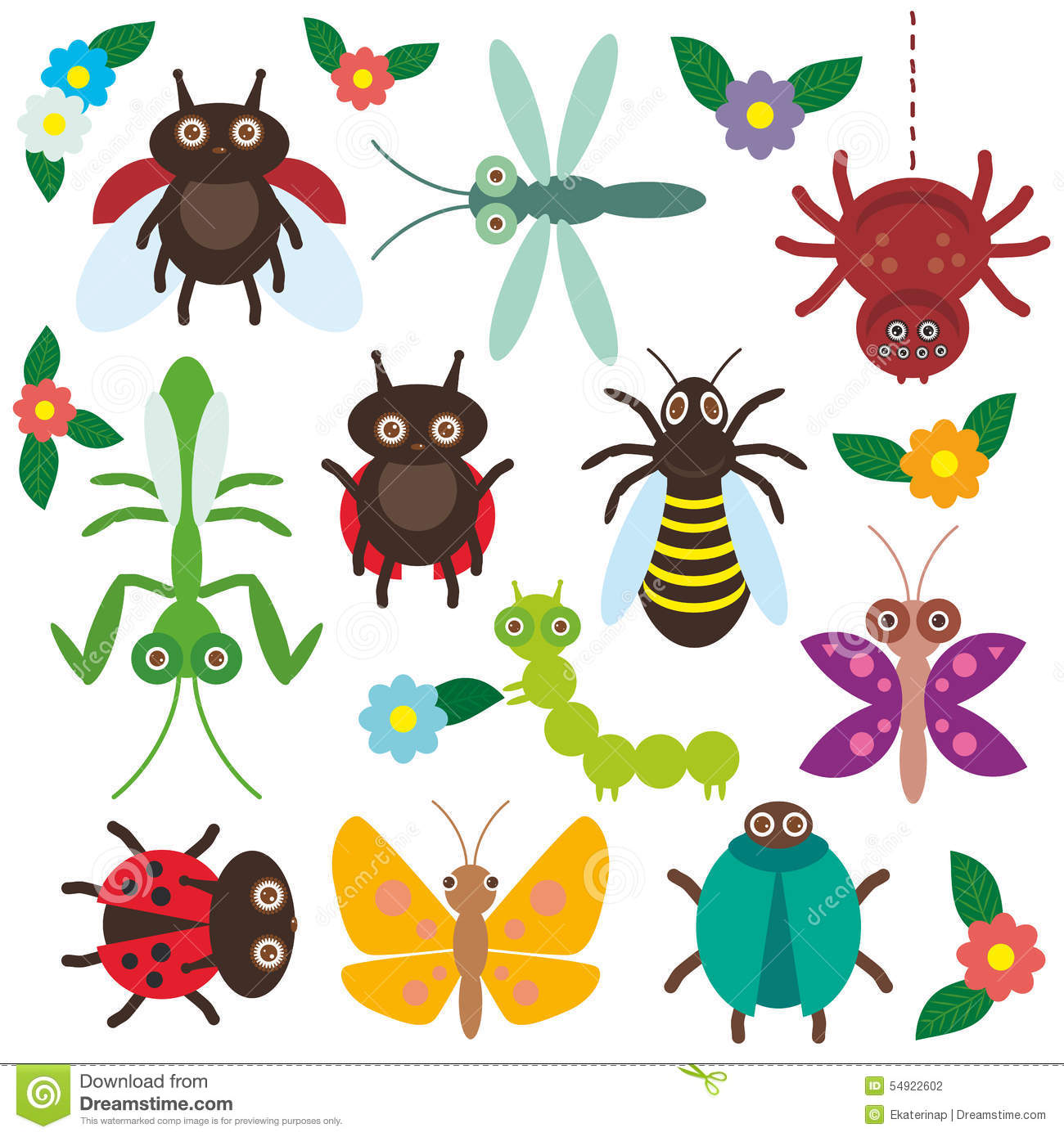 funny insects set spider butterfly caterpillar stock vector